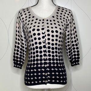 The Limited polka dot 3/4 sleeve cardigan black S